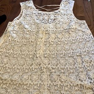 Forever 21+ lace tank with cut out details